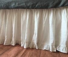 Solid White Split Corner Edge Ruffle Gathered Bed Skirt 800 Tc Cotton