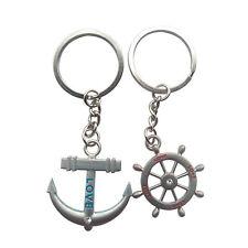 Coppia di sterzo nautico Charms Anchor Wheel anello chiave di Keychain J0Y6