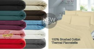 """100% Cotton Brush Thermal Flannelette Extra Deep 16"""" Fitted Bed Sheet All Sizes"""