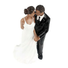 Wedding Cake Doll Resin Groom Bride Black Couple Figurine Cake Stand Topper