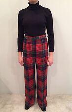 Vintage 70s Douglas Marc Red Tartan Plaid Wide Leg Wool Pants Bell Bottoms 15/16