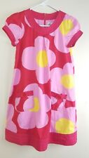 Mini Boden Dress 11-12 Red Pink Mod Flower Short Sleeve Lined