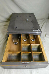 "Vintage Wood & Metal Cash Register Box/Tray/Drawer - Works (19.5"" x 14"" x 5.5"")"
