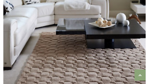 Origins Basket Weave Luxury 100% Wool Hand Tufted Luxury Rug Blush 3 Sizes