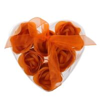 6 x Jabon de Bano Rosa Perfumada Color Naranja con Caja de Corazon W7X8