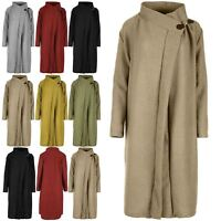 Womens Oversize Cowl Neck Duster Baggy Ladies Knit Polo Buckle Cape Cardigan Top