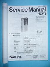 MANUAL DE Manual de servicio para Panasonic rn-111, original