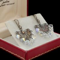 Antique Vintage Deco 925 Sterling Silver Aurora Borealis Glass Filigree Earrings
