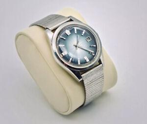 Vintage 1970s Citizen Newmaster Men's Watch With Deep Blue Sunburst Dial, Japan