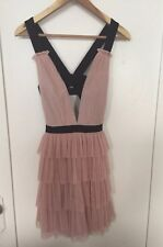 BCBG Pink Deep Plunge Neck Tulle Layered Short Party Cocktail Dress Sz S