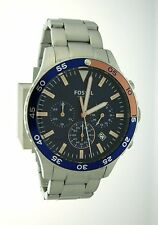 Fossil Crewmaster Men's Sport Chronograph Blue Dial Steel Link Watch CH3059