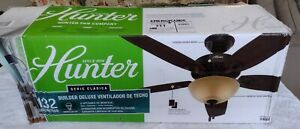 "HUNTER 53091  Indoor Ceiling Fan LED Light Pull Chain 52 "" Inch Bronze NO GLOBE"