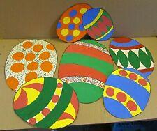 "6 1960's Elementary School Classroom Handmade 10""-15"" Paper Easter Eggs Free S/H"