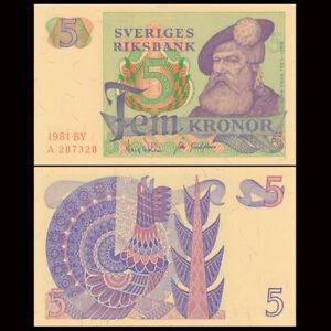 Sweden 5 Kronor, 1970 / 1981, P-51, UNC