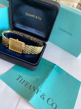 Tiffany & Co. 18k Gold Plated Portfolio Unisex Watch With Box And Papers