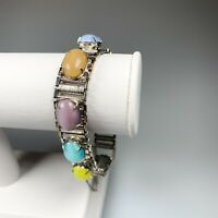 Vintage Bracelet, Sarah Coventry, Pastel Cabochons, Silver Tone, Safety Chain