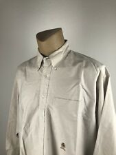 Tommy Hilfiger, Mens Button Down Long Sleeve Dress Shirt Beige 171/2 (36-37) (G)