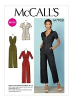M7908 Sewing Pattern Easy Petite Jumpsuits pocket sleeve var McCall's 7908