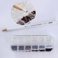 1 Box 4mm Nagel Kunst Strasssteine Schimmer Dekoration mit Dotting Pen DIY