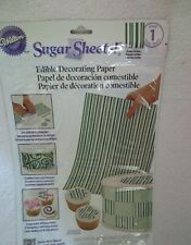 Wilton Icing Sugar Sheet Color Green Stripes Cake Decorating New