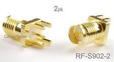 2-Pack RP-SMA Female Jack PCB Clip Edge Mount 1.6mm RF Connectors, RF-S902-2