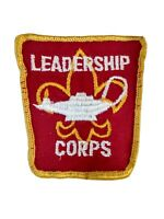 Boy Scout Vintage 1970s LEADERSHIP CORPS Patch BSA Red Yellow Cloth Badge Lamp