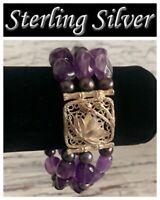 3 Strand Amethyst Bead Bracelet Sterling Silver Floral Designer Signed BJ 925