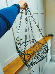 Vintage wrought iron black square sided 4 chain hanging basket