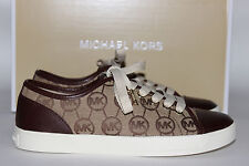 NIB MICHAEL KORS Size 9.5 Women's Mocha MK Monogram Jacquard CITY Tennis Shoe