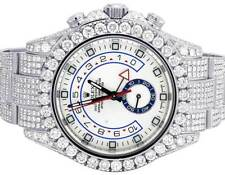 New Iced Mens 116680 Rolex Yacht Master II 44MM Oyster Diamond Watch 22.75 Ct