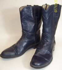 Rockabilly Blue Leather Mens US 8M Cowboy Boots Leather Sole Mexico