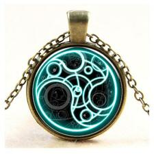 Doctor Who Jewelry Pendant Chain Necklace Blue Line Time Glass Bronze