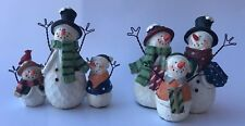 "Winter Christmas Holiday Snowman Family 4"" Figurine with Wire Arms Set of 2"
