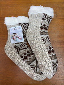 Muk Luks Womens Cabin Sox Faux Shearling Lining Cozy Slipper Socks L/XL 8-10 NEW