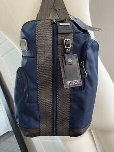 Tumi Higgins Sling Bag Crossbody Backpack Blue with  Leather Trim