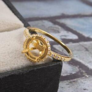 Silver 8 mm Round Semi Mount Ring Setting Wedding ring CZ setting Gold Rhodium