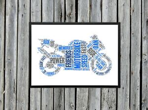 Personalised A4 Word Art Motorbike Birthday Gift Photo Picture Print Image
