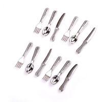 12pcs Knife and Fork Tableware Set Mini House Crafts Miniature Play Scene 1:12