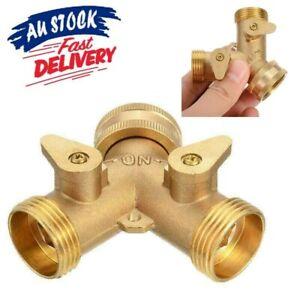 2 Way Brass Tap Adaptor Y Splitter Washing Machine Garden Hose Connector - AU