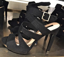 ZARA BLACK HIGH HEEL SANDALS WITH BUCKLE SIZE 8 SOLD OUT