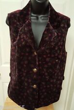 Coldwater Creek Womens Burgundy/Green/Yellow/Red Floral Velor FEEL Vest Top Sz M