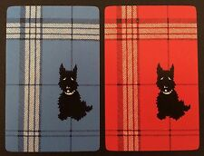 Pair of Vintage Swap/Playing Cards - SCOTTIE DOGS - Blue & Red - Mint Cond