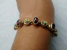 Stunning vintage signed Art victorian revival faux garnet  gold tone bracelet