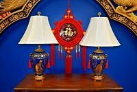 "PAIR OF 29"" EGYPTIAN CAT LAMPS - BLUE & GOLD  PORCELAIN  VASES - ASIAN CERAMIC"