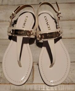 Authentic COACH Catherine Beige / Tan Sandals Thong Flip Flops 7.5 B style A7799