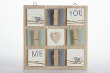 Wooden Clip Board Photo Message Memo Note Holder Shabby Hanging Pegs Sign
