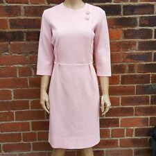 60s/70s Vintage Pink Crimplene Button Detail Shift/Scooter Dress (Mod)