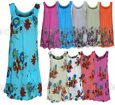 Cotton Scoop Neck Sleeveless Tunic Dresses for Women