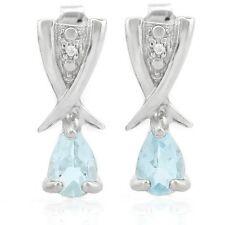 Ohrringe/Ohrstecker Lucinda, 925er Silber, 0,82 Kt. echter Blautopas/Diamant