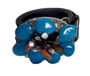 Belt Buckle Womens Western Cowgirl Metal Jewels Stones Blue Brown M L Black